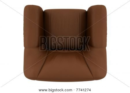 top view of brown leather armchair isolated on white background with clipping path