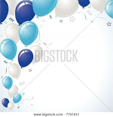 Blue Teal Party Balloons Layout