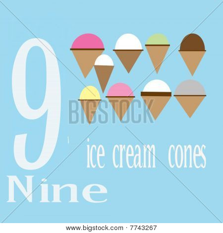 Nine Ice Cream Cones