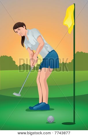 An image showing a woman golf player putting the ball into the hole poster