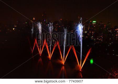 Fireworks In Lake Of Bangkok,thailand
