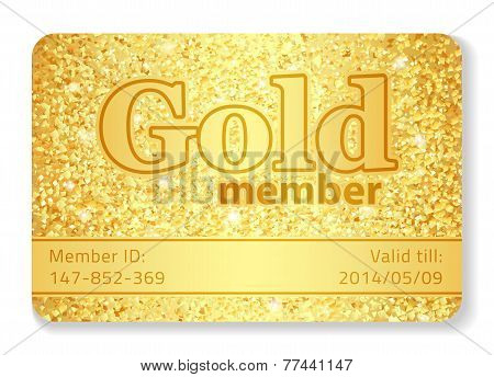 Gold Member Vip Card Composed From Glitters