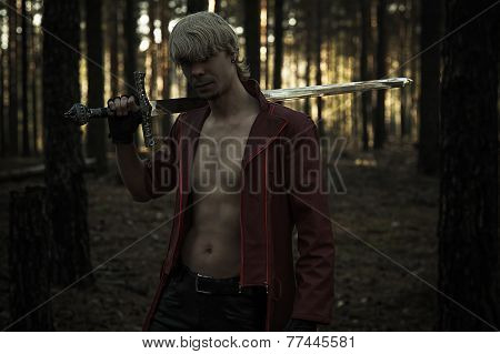 hero with a sword in the forest