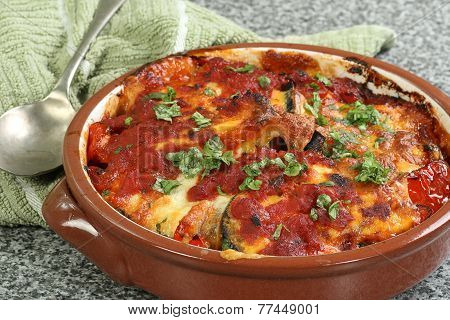 Aubergine And Red Pepper Bake