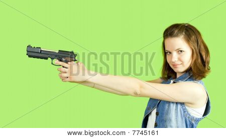 Girl In White With Gun