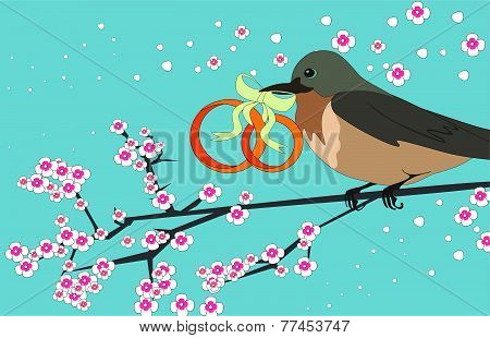 bird with wedding rings