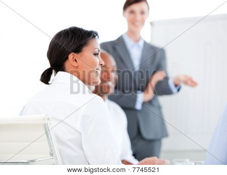 Portrait Of A Confident Businesswoman At A Presentation