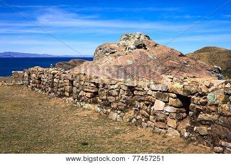 Stone Wall on Isla del Sol in Lake Titicaca, Bolivia