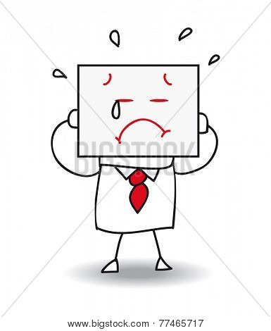 Sad businessman. Joe holds a sheet of paper on which is drawn a sad face. he is sad and he is crying , he is anonymous behind this sheet of paper.