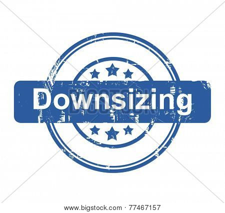 Downsizing business concept stamp with stars isolated on a white background.