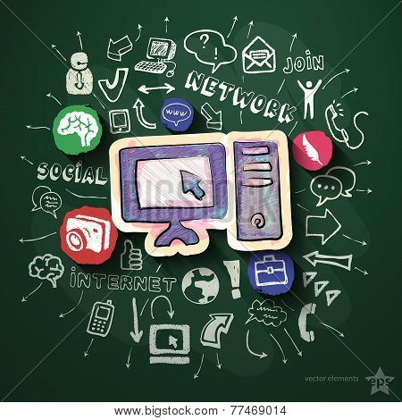 Social media collage with icons on blackboard