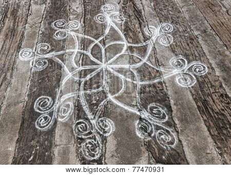 Rangoli, Rice Powder Drawing On The Ground.