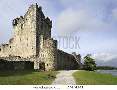 Ross Castle on the island and Lough Leane.