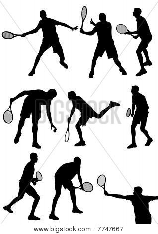 Detailed  tennis players silhouettes isolaten on white
