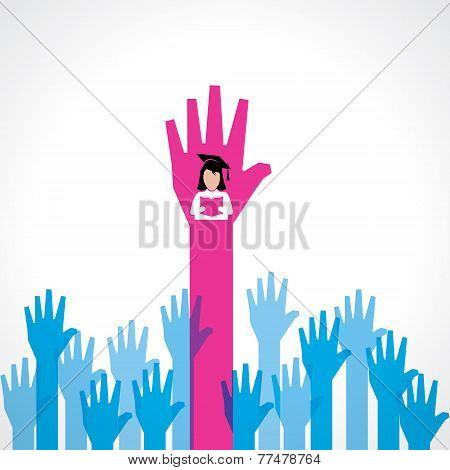 Graduate girl in male crowd stock vector