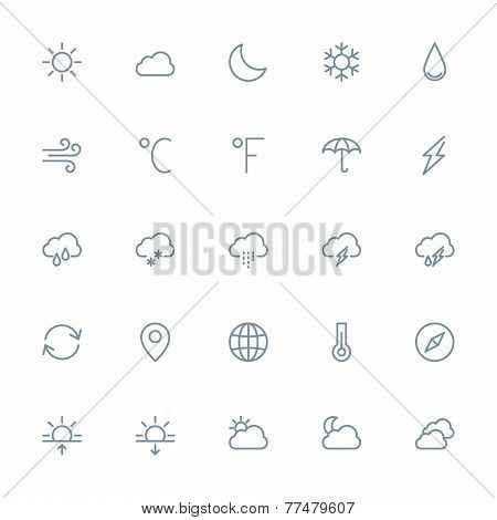 Thin Line Weather Icons Set For Web And Mobile Apps. Gray Icons On White Background. Cloud, Sun, Rai