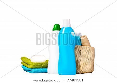 Detergent In Blue And White Plastic Bottles