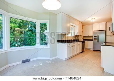 Kitchen Interior With Empty Dining Corner