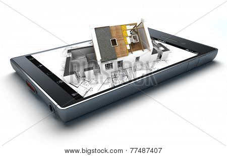3D rendering of a smart phone with a house with exposed roof layers on top of blueprints jutting out