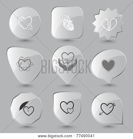 Heart shape set. Vector glass buttons.