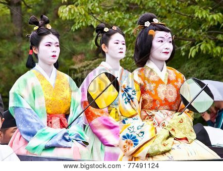 KYOTO, JAPAN-OCT 22, 2014: Jidai Matsuri Festival on Kyoto Gosho and?? Heian-jingu Shrine, Kyoto on Oct. 22, 2014., Japan. This festival is examples of costumes from every period of Japanese history.