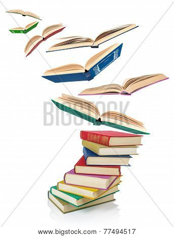 stack of Old book isolated on white