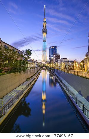 TOKYO, JAPAN - NOVEMBR 3, 2012: Tokyo Skytree viewed from the Sumida Ward in Tokyo. The structure is the world's second tallest.