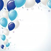 Blue and teal balloons floating over confetti and stars with vignette background poster