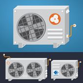 Air conditioner is made in style of flat design well will be suitable for 2d games animation and illustrations. poster