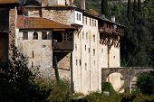 Serbian orthodox monastery Hilandar Monk`s Republic Holy Mount Athos Greece poster