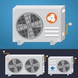 Air Conditioner System. Vector Illustration.