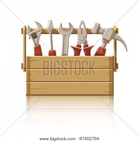 Wooden box with construction tools. Eps10 vector illustration. Isolated on white background