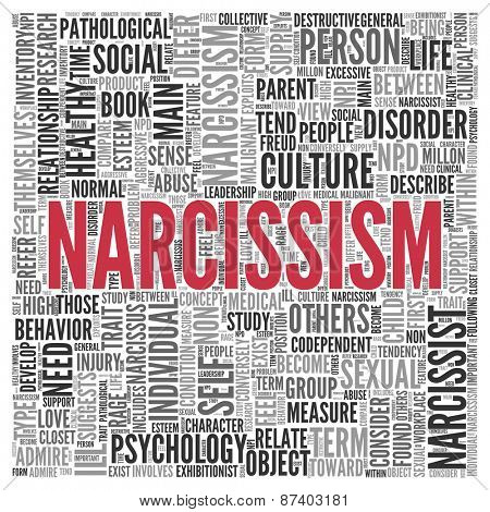 Close up Red NARCISSISM Text at the Center of Word Tag Cloud on White Background.