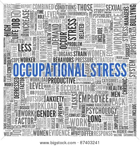 Close up Blue OCCUPATIONAL STRESS Text at the Center of Word Tag Cloud on White Background.