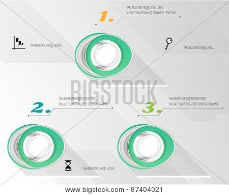 Modern, abstract, gray, green infographic with numbers, black icons - graph, hourglass, magnifier, t