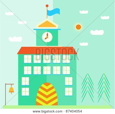Green, school building with flag, clock, doors, bell, landscape with sun, clouds and trees