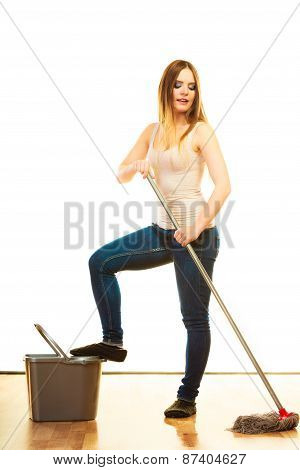 Young Cleaning Woman With Mop And Bucket