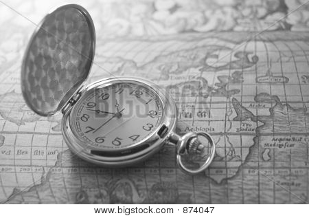 Pocket Watch On Map