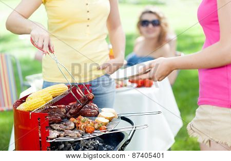 Host Serving Woman Frazzled Sausage