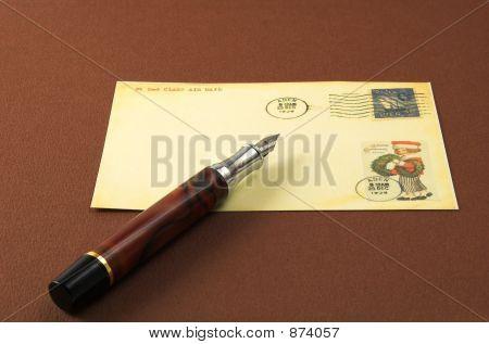 Vintage Postcard And Pen