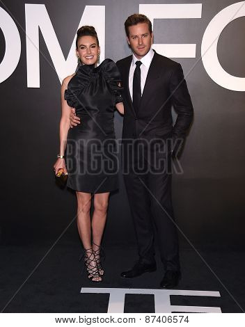 LOS ANGELES - FEB 20:  Armie Hammer & Elizabeth Chambers arrives to the Tom Ford Autumn/Winter 2015 Womenswear Collection Presentation  on February 20, 2015 in Hollywood, CA