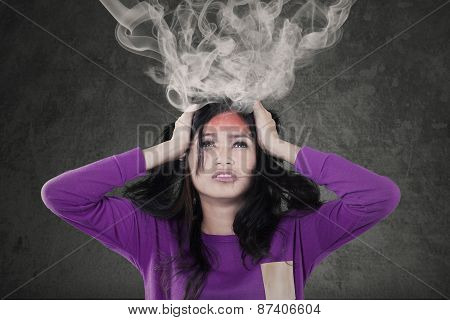 Stressful Girl With Exploded Head