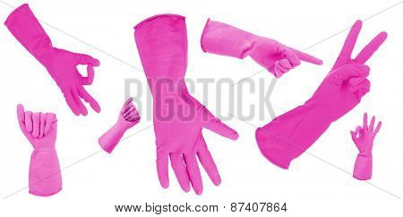 Pink gloves gesturing numbers isolated on white