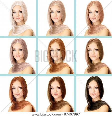 Concept of coloring hair. Portraits of beautiful woman with long hair