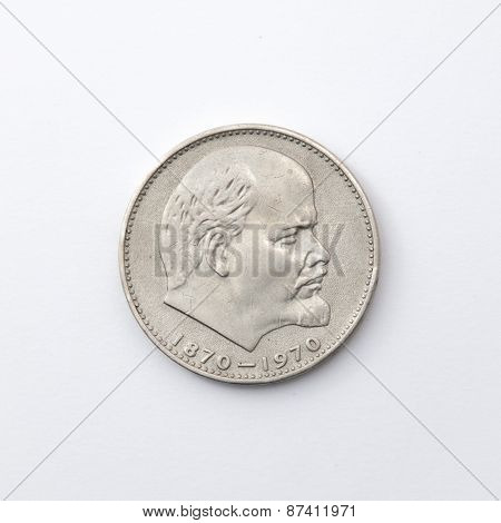 A Soviet ruble with the face of Lenin's birth centenary of Lenin 1986 poster