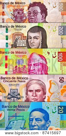 Mixed peso bills creating a colorful background poster
