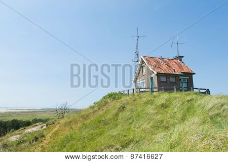 Little house with many antennes at Dutch wadden island Terschelling