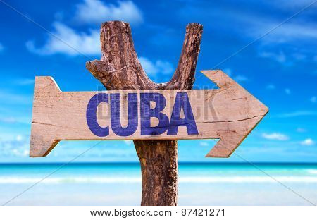 Cuba wooden sign with beach background poster