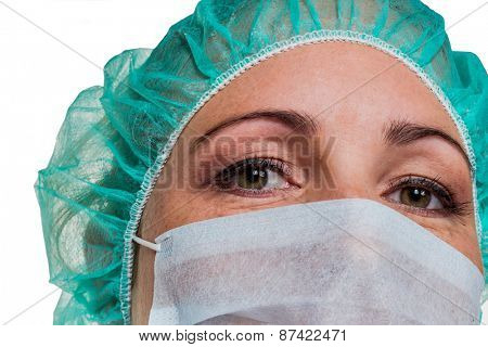 a nurse or doctor in surgical clothing before surgery. symbolic photo for stress and overtime in the hospital.