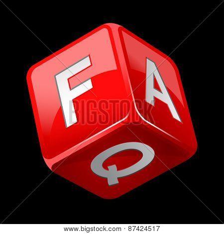 dice faq icon isolated on black